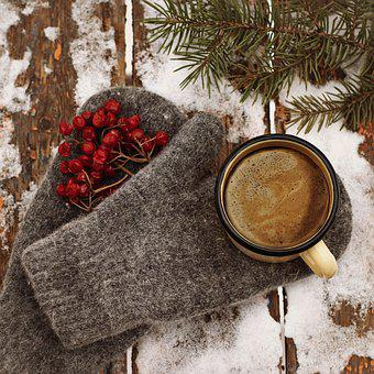 Coffee, Mitten, Winter, Gloves, Hot, Snow, Cold, Cozy