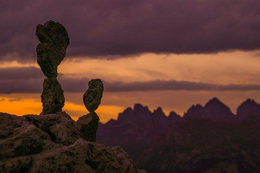 Stones, Dolomites, Alps, Mountain, Sunset, Nature