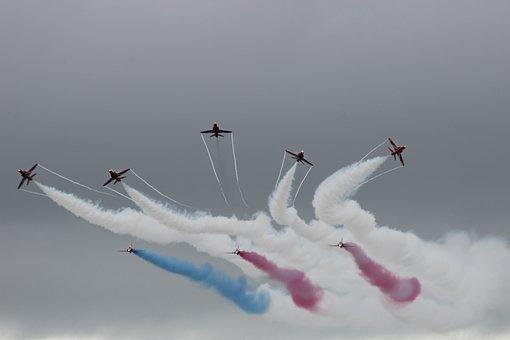 Red Arrows, Display, Jet, Smoke, Formation, Aerobatic