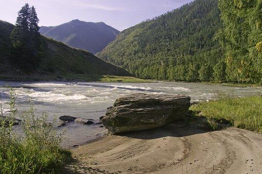 The Altai Mountains, Siberia, River Sensing, Morning