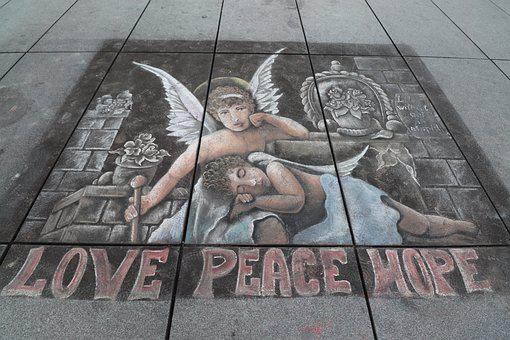 Drawing In Chalk, Street Artists, Sidewalk, Decoration