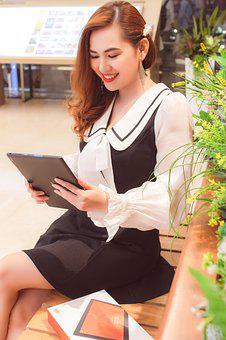 Girl, Beautiful, Tablet, Smile, Sit