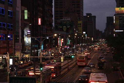 Taipei, Taiwan, City, Asia, Sky, Twilight, Night, Tower