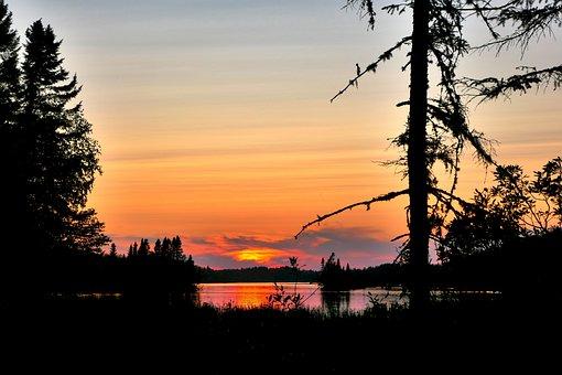 Sunset, Nature, Landscape, Orange, Water, Trees, Scenic