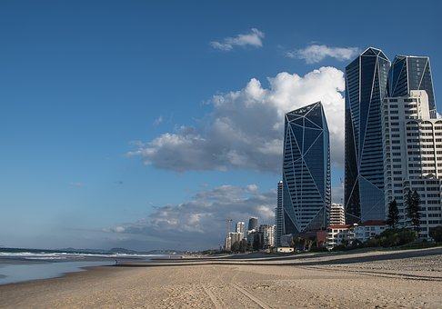 Beach, Sand, Ocean, Buildings, Architecture, Towers