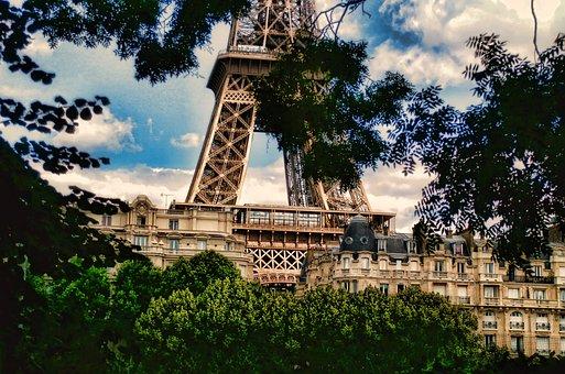 France, Paris, Eiffel Tower, Summer, Sky, Architecture