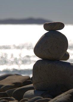 Rock, Stone, Balance, Water, Beach
