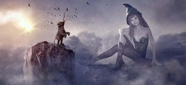 Fantasy, Elephant, Fee, Clouds, Light, Rock, Birds
