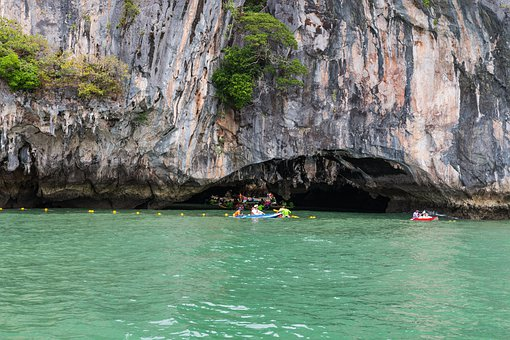 Phuket, Thailand, Cave, Sea, Blue, Water, Canoeing