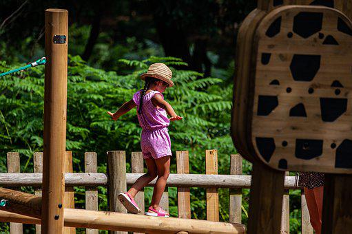 Child Balancing, Child Fun, Child Playing, Girl On Rope