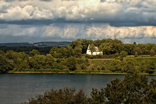 Church, Lake, Forest, Eifel, Mare, Water, Nature