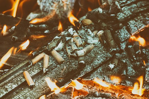 Fire, Cigarette End, Tilt, Flame, Wood, Charred, Ash