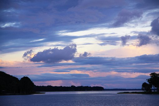 Sunset, Blue Sky, Colorful, Lake, Water, Island, Cloud