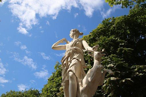 Sculpture, Statue, Mythology, Diana, Woman, The Story