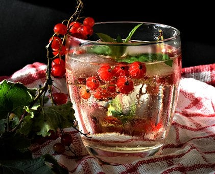 Currants, Fruit, Berries, Water, One, Mint, Drink