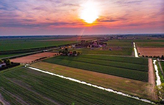 Sunset, Sun, Landscape, Drone, Campaign, Veneto Italy