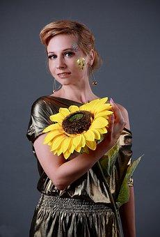 Sunflower, Aqua Make-up, Feysart, Makeup, Gold, Golden