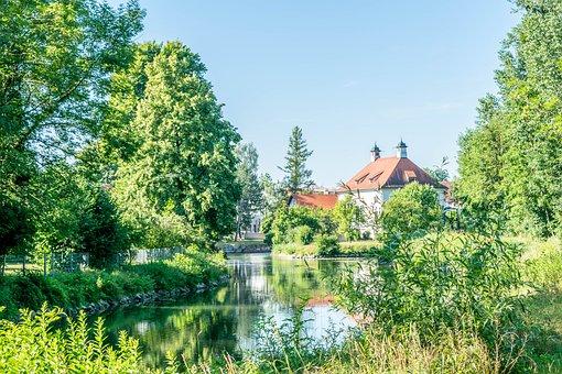 Waterworks, Amper, Seefeld, Trees, Nature, Green, Blue