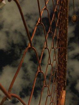 Brown, Gate, Iron, Grid, Night, Light, Dark, Texture
