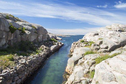 Sweden, West Coast, Landscapes, Cliffs, Sky, Salt Water