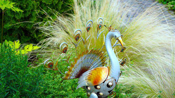 Peacock, Figure, Sheet, Garden Decoration, Metal