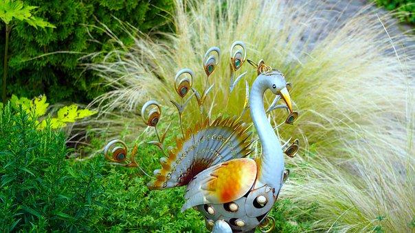 Peacock, Figure, Sheet, Garden Decoration, Metal
