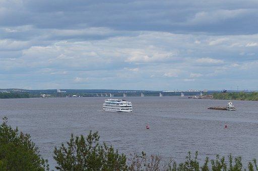 River, Beach, Ship, Steamer, Landscape, Reflection