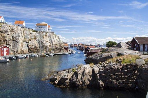 West Coast, Sweden, Water, Bohuslän, Cliffs, Sky