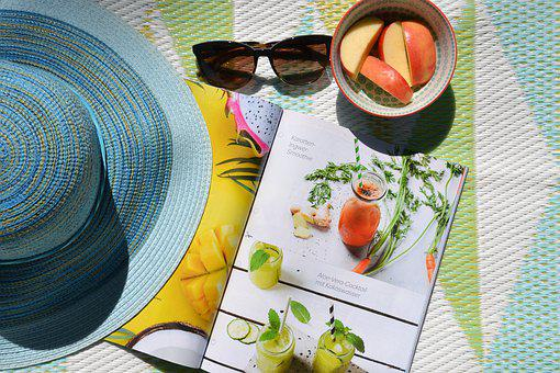 Summer, Sun, Garden, Read, Magazine, Coneflower, Apple