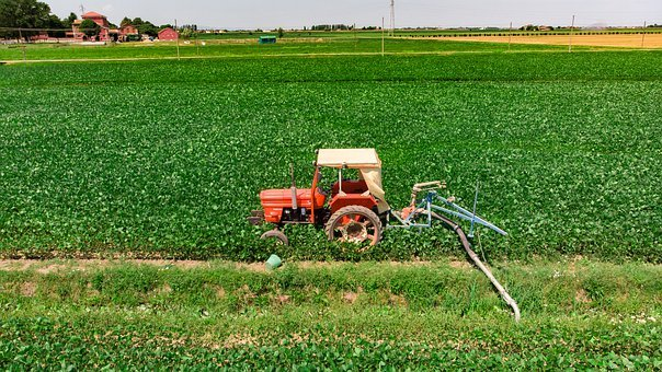 Tractor, Campaign, Irrigation, Orange, Veneto, Italy