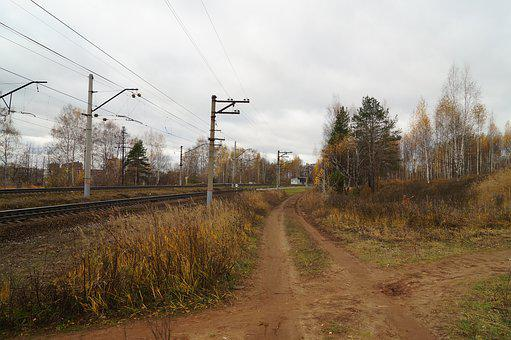 Railway, Autumn, Pillars, Landscape, Train, Transport
