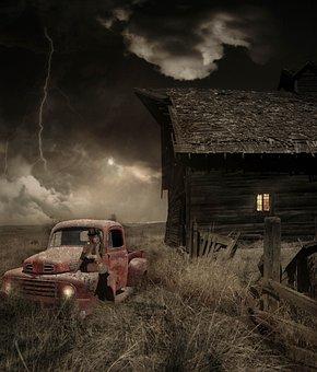 Field, Hut, Storm, Auto, Old, Fantasy, Woman, Pretty