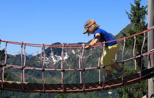 Child, Climbing, Rope, Climb, Activity, Mountains