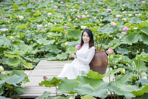 Lotus, Aodai, Flower, Vietnam, White, Women, Lake