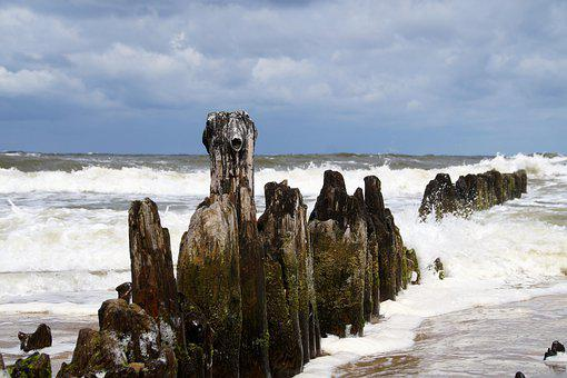 Sea, Waves, Breakwater, Stakes, Wood, The Baltic, Coast