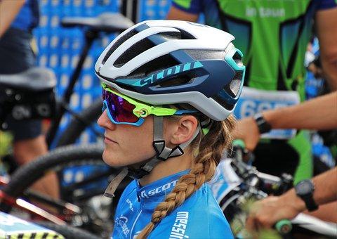 Cyclist, Race, She, Helmet, Sport, Bike, Competition