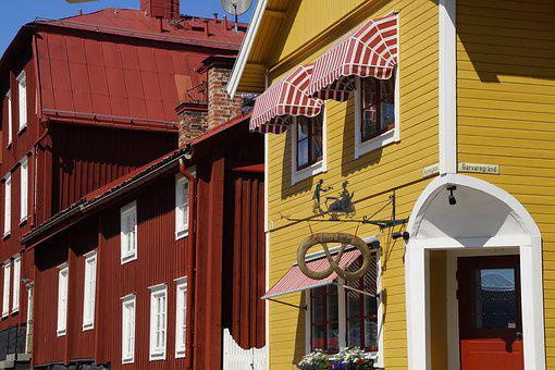 Mariefred, Building, Houses, Facades, Wooden Houses