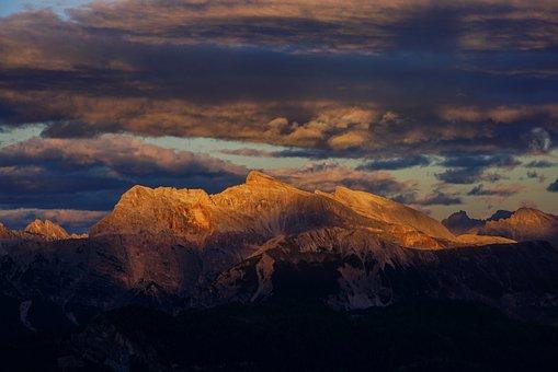 Sunset, Mountains, Alps, Nature, Landscape, Sky, Clouds