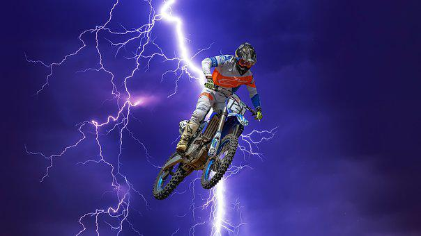 Motocross, Bike, Motorcycle, Motorbike, Lightning