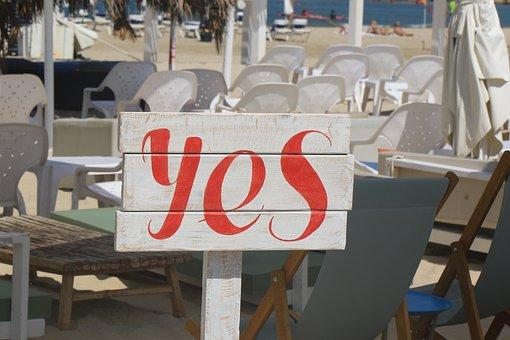 Yes, Sign, Beach, Restaurant, Relax