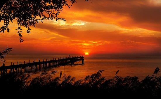 Sunset, Sunrise, Sun, Summer, Sky, Landscape, Ocean
