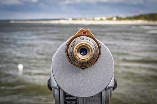 Binoculars, Telescope, Watch, Beach, Water, Sea, Sky