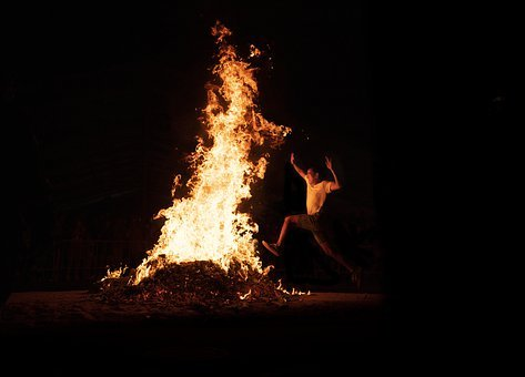 Jump, Fire, Night, Adventure, Flame, Heat, Figure