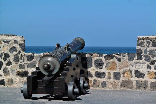Gun, Defense, Fixing, Harbour Wall, Antique, Iron