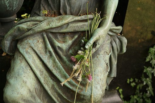 Statue, Hand, Flowers, Art, Stone, Sculpture