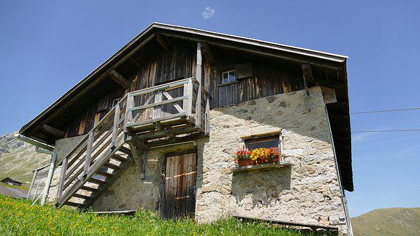 House, Hut, Old, Stone Wall, Rural, Building, Dolomites