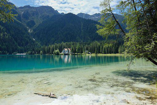 Nature, Landscape, Mountains, Lake, Color Contrast
