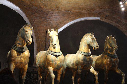 San Marcos Cathedral, Venice, Four Horses, Italy