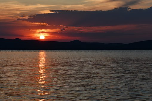 Sunset, In The Evening, Rest, Holiday, Lake Balaton