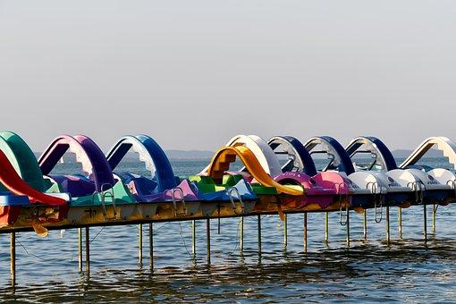 Sunset, In The Evening, Rest, Water Bike, Lake Balaton